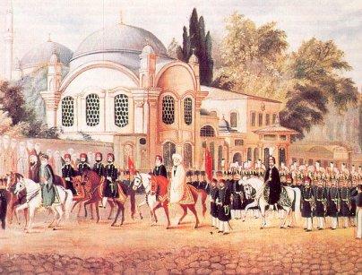 السلطان العثماني وشيخ الإسلام في زيارة أبي أيوب الأنصاري